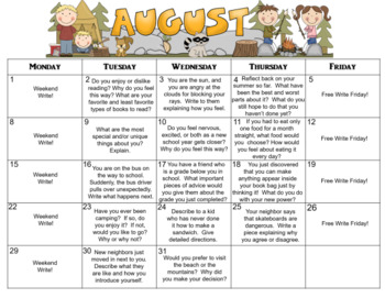 August Calendar Editable Journal Prompts