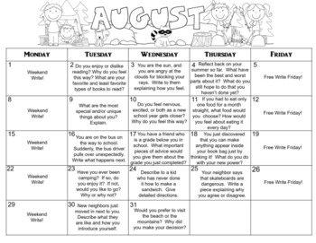 August Calendar Editable Journal Prompts