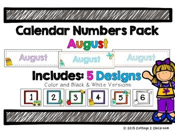 August Calendar Header & Number Set