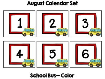 August Calendar Header & Number Set