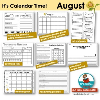 August Calendar Math and Activities | Calendar Pocket Chart Keepers