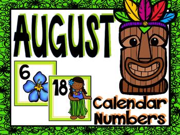 August Calendar Numbers