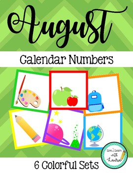 August Calendar Numbers (6 sets) Back to School