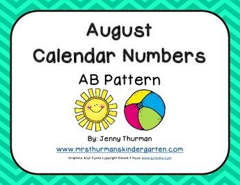 August Calendar Numbers AB Pattern Freebie