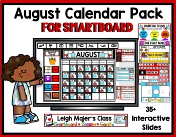 2018 August Math and Calendar Pack for SMARTboard