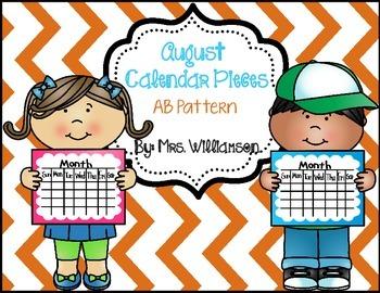August Calendar Pieces- AB Pattern