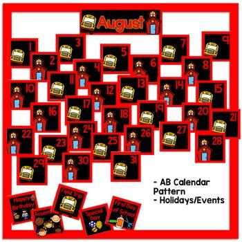 August Calendar Pieces - Black Set
