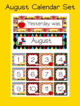 August Calendar Set - Numbers - Days of the Week