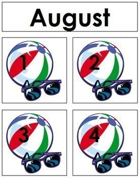 August Calendar Tags