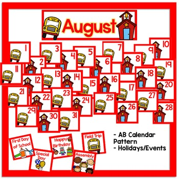 August Calendar and Morning Math - White Set