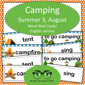 August / Camping Word Wall Cards! English version