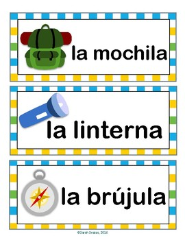 August / Camping Word Wall Cards! Spanish version
