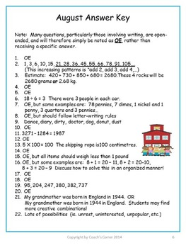 August Canadian Bell Work for Grade 5