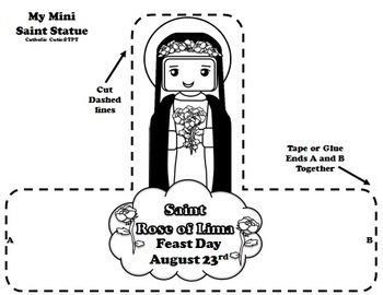 August Catholic Saint Calendar Activities - Saint Rose of Lima