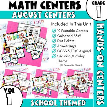 August Centers — First Grade MATH Centers