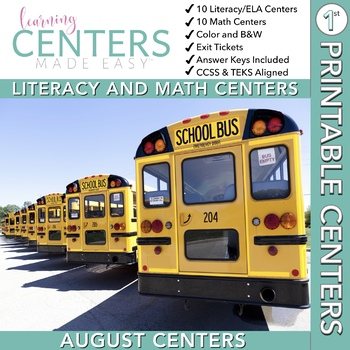 August Centers — First Grade Math and Literacy