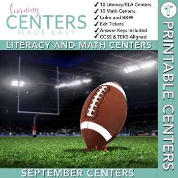 September Centers — First Grade Math and ELA
