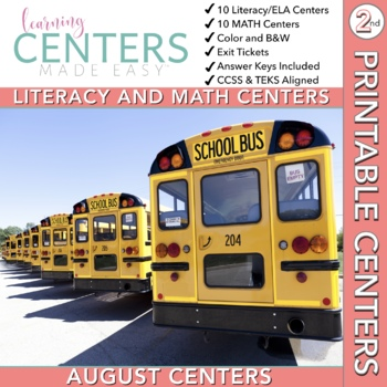 August Centers: Second Grade Math and ELA