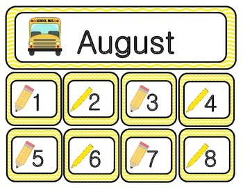 August Chevron Calendar Set