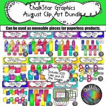 August Clip Art Bundle- Chalkstar Graphics