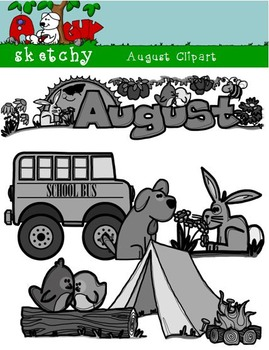 August Clipart / Graphics and Monthly Header 300dpi Color, Gray scale, BW