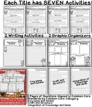 August Close Reading Passages w/ Common Core Aligned Text Dependent Questions