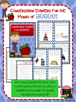 August Conversation Starters, Morning Meeting Ideas, Quick Writes, and More