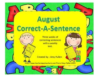 August Correct-A-Sentence