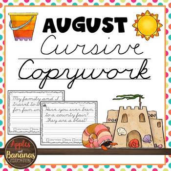 August Cursive Copywork Handwriting Practice