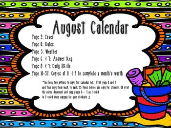 August Daily Calendar Activity Journal