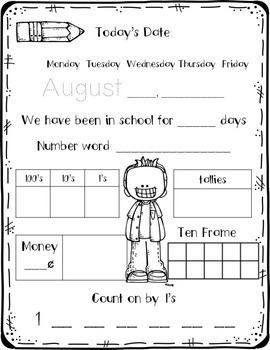 Calendar Review & Math Practice August Freebie