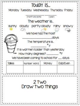August Daily Calendar/Weather Activities...Math Review and Practice