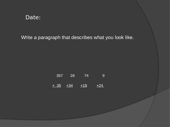 August Daily Journal Topic and Daily Math Computation (editable)