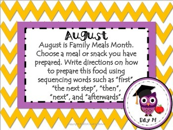 August Daily Journal Writing Prompts for Whiteboard Presentations or Task Cards