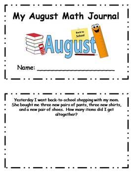 August Daily Math Journal