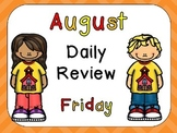 August Daily Skills Review PowerPoints for Kindergarten~Great for Calendar Time!