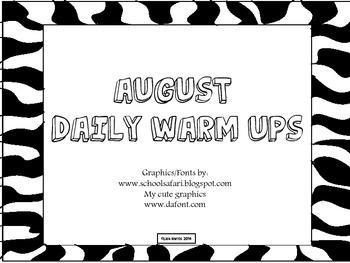 August Daily Warm Ups for Kindergarten.