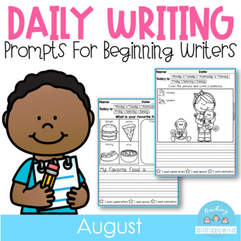 August Daily Writing Journal Prompts for Beginning Writers