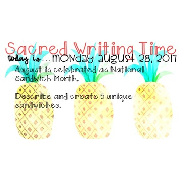 August Daily Writing Prompts (No Prep)
