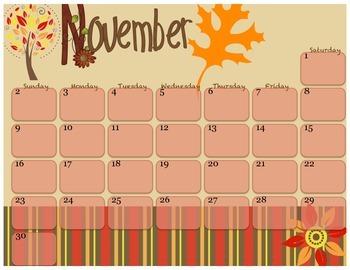 August - December 2014 Monthly Calendars
