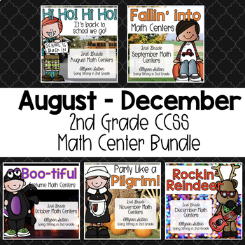 August - December 2nd Grade Math Centers Bundle