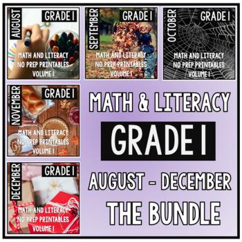 August - December BUNDLE First Grade Math and Literacy NO PREP