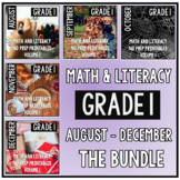 August - December BUNDLE First Grade Math and Literacy NO PREP