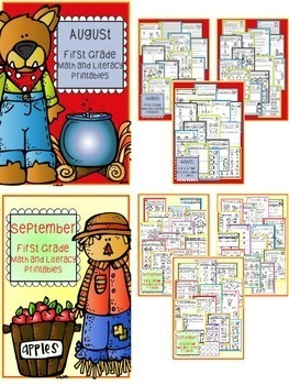 Distance Learning August - December BUNDLE First Grade Math and Literacy