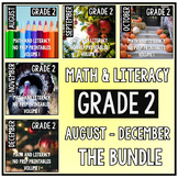 August - December BUNDLE Second Grade Math and Literacy NO PREP