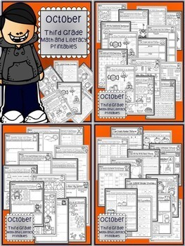 August - December BUNDLE Third Grade Math and Literacy NO PREP