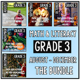 August - December BUNDLE Third Grade Math and Literacy NO PREP