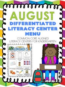 August Differentiated Literacy Center Word Work Menu (Comm
