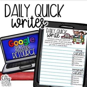 August Digital Daily Quick Writes (Google Slides)