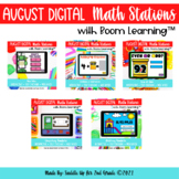 August Digital Math Stations for Back to School l Task Car
